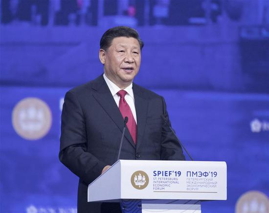 Chinese President Xi Jinping addresses the plenary session of the 23rd St. Petersburg International Economic Forum (SPIEF) held in St. Petersburg, Russia, June 7, 2019. Xi Jinping on Friday attended the plenary session of the 23rd SPIEF along with Russian President Vladimir Putin, Bulgarian President Rumen Radev, Armenian Prime Minister Nikol Pashinyan, Slovak Prime Minister Peter Pellegrini, United Nations Secretary-General Antonio Guterres and other guests. (Xinhua/Wang Ye)