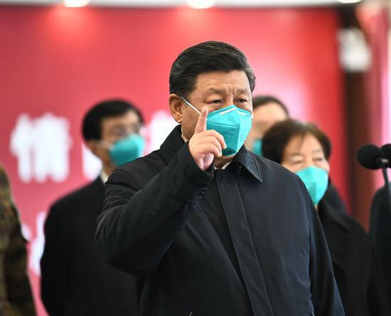 President Xi Jinping visits Huoshenshan Hospital in Wuhan, central China's Hubei Province, March 10, 2020. (Xinhua/Xie Huanchi)