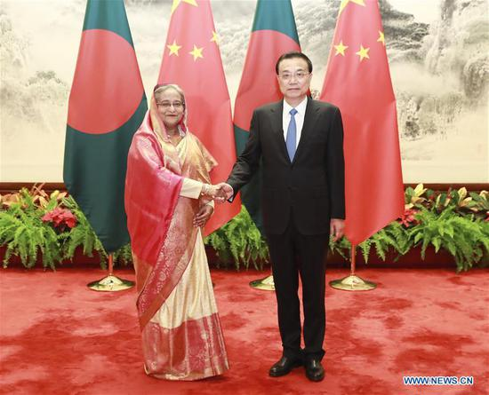 Chinese Premier Li Keqiang holds talks with Bangladeshi Prime Minister Sheikh Hasina, who is paying an official visit to China, at the Great Hall of the People in Beijing, capital of China, July 4, 2019. (Xinhua/Pang Xinglei)