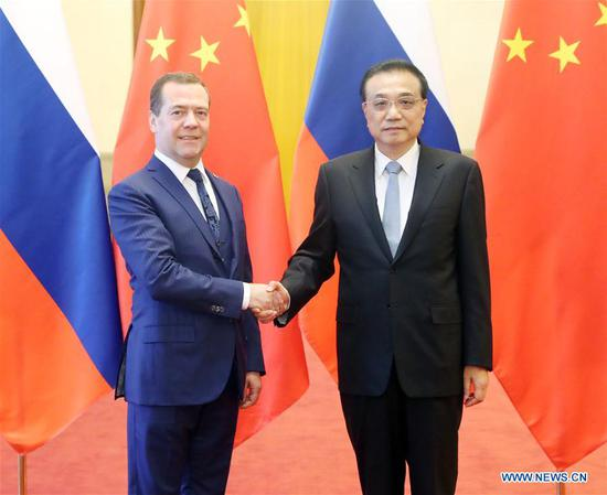 Chinese Premier Li Keqiang (R) and Russian Prime Minister Dmitry Medvedev co-chair the 23rd China-Russia Prime Ministers' Regular Meeting in Beijing, capital of China, Nov. 7, 2018. (Xinhua/Liu Weibing)