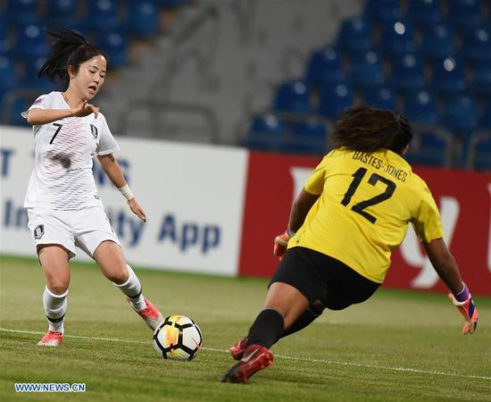 Lee Mi-Na (L) of south Korea shoots during the fifth place match between South Korea and the Philippines at the 2018 AFC Women's Asian Cup in Amman, Jordan, on April 16, 2018.(Xinhua/He Canling)