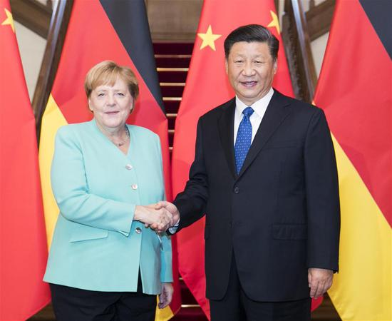Chinese President Xi Jinping meets with visiting German Chancellor Angela Merkel in Beijing, capital of China, Sept. 6, 2019. (Xinhua/Huang Jingwen)