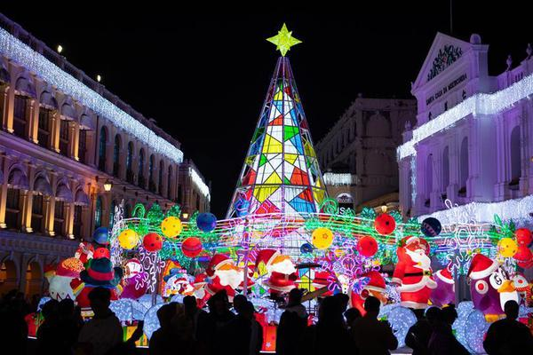 Festive lights lit up for upcoming Christmas and New Year's Day in Macao