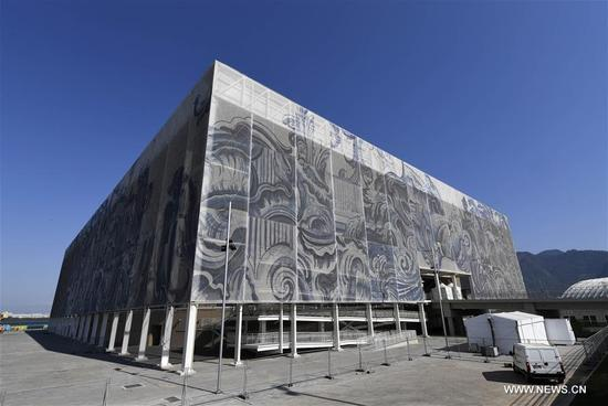 Photo taken on Aug. 2, 2016 shows the Olympic Aquatics Stadium in Rio de Janeiro, Brazil. The Olympic Aquatics Stadium is decorated by a work of art by Brazilian artist Adriana Varejao. The facades are made by 66 panels, each 27 metres high, and are decorated by images of sea and angels with a mixed style of Portuguese tiling and baroque art. The material is anti-UV treated to help regulate the building's temperature. (Xinhua/Wu Wei)