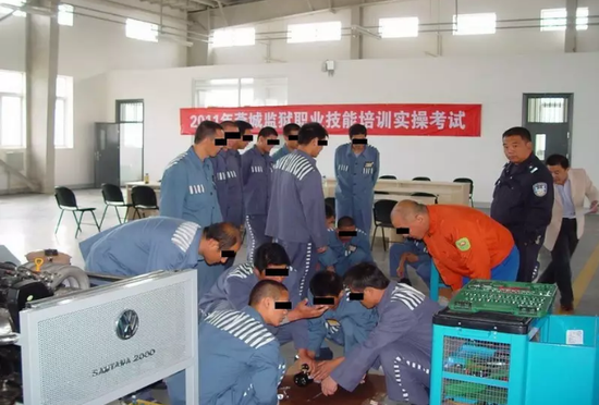 Inmates participate a vocational skill test.