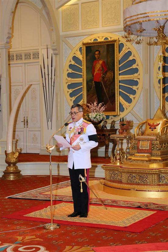 In this photo provided by the Thai Royal Household Bureau, Crown Prince Maha Vajiralongkorn attends a succession ceremony to become King Rama X in Bangkok, Thailand, on Dec.1, 2016. Thailand's Crown Prince Maha Vajiralongkorn accepted invitation from parliament president to ascend to the throne and thus formally proclaimed King Rama X in a televised ceremony broadcast late Thursday. (Xinhua/POOL/Thai Royal Household Bureau)