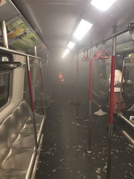 18 people were injured in the fire broke out on Hong Kong's MTR train.