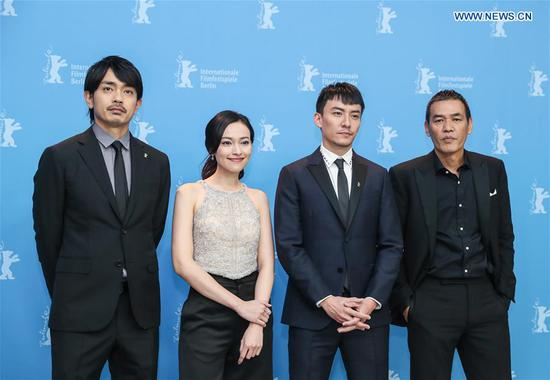 (From R to L) Director Sabu, actor Chang Chen, actress Yao Yiti and actor Sho Aoyagi attend a photocall of film