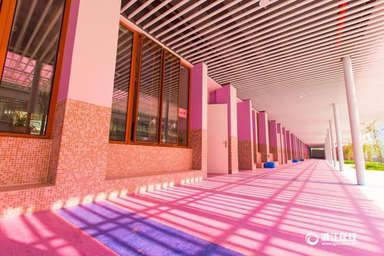 Pink gate, blue walls, decoration of a primary school in Hangzhou, capital city of Zhejiang province have won much praise.
