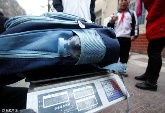 A schoolbag weighs 5.94 kg.