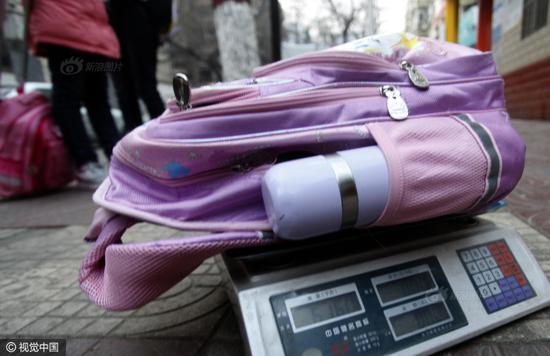 A schoolbag weighs 6.16 kg.