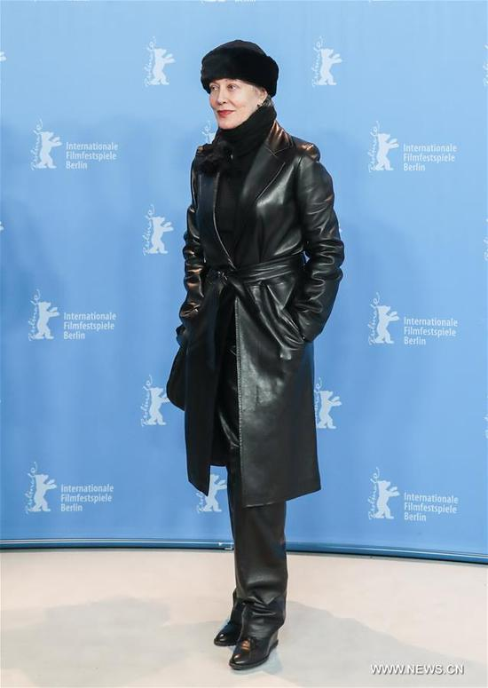 Italian film costume designer Milena Canonero attends a photocall during the 67th Berlinale International Film Festival in Berlin, capital of Germany, on Feb. 16, 2017. The 67th Berlin International Film Festival on Thursday presented the Honorary Golden Bear award to respected Italian film costume designer Milena Canonero. (Xinhua/Shan Yuqi)