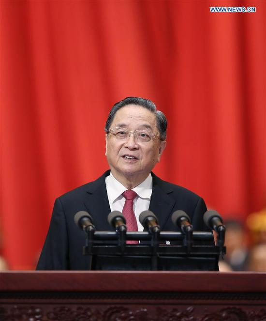 Yu Zhengsheng, chairman of the National Committee of the Chinese People's Political Consultative Conference (CPPCC), delivers a report on the work of the CPPCC National Committee's Standing Committee at the fifth session of the 12th CPPCC National Committee at the Great Hall of the People in Beijing, capital of China, March 3, 2017. The fifth session of the 12th CPPCC National Committee opened in Beijing on March 3. (Xinhua/Yao Dawei)