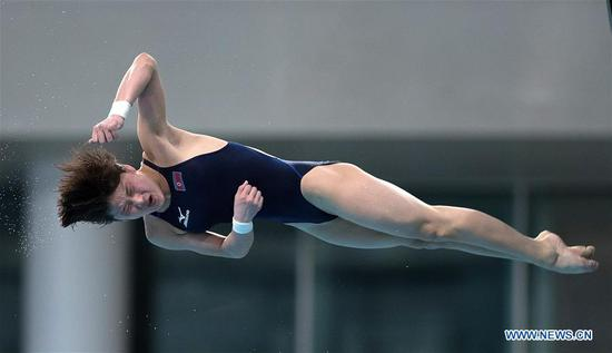 Kim Mi Rae of the Democratic People's Republic of Korea competes during the women's 10m platform final of the FINA Diving World Series 2017 in Beijing, capital of China, March 5, 2017. Kim Mi Rae took the bronze medal of the event with a total of 360.25 points. (Xinhua/Wang Lili)