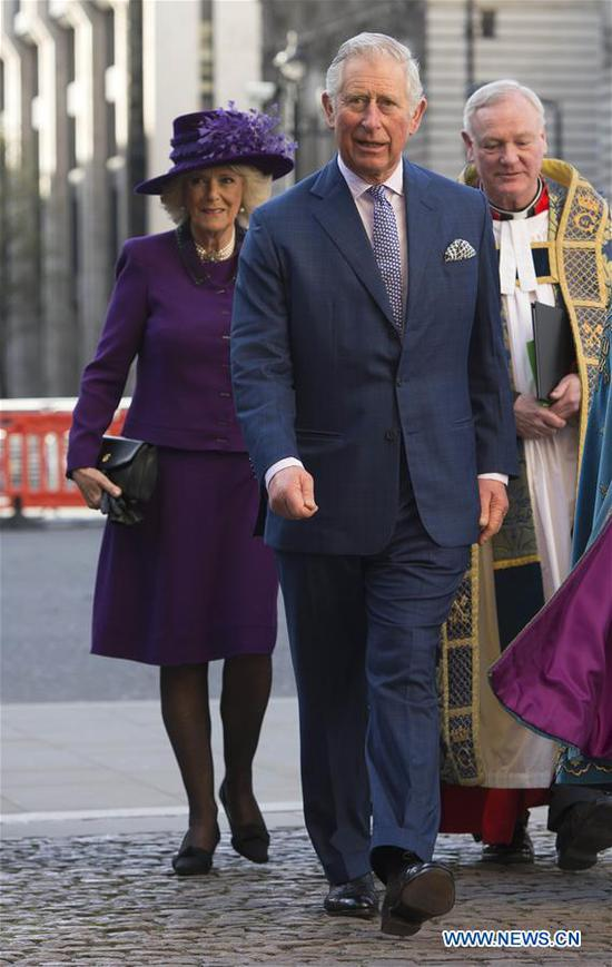 Prince Charles and Camilla, Duchess of Cornwall, attend the Commonwealth Day celebrations service at Westminster Abbey in London, Britain, on March 13, 2017. (Xinhua)