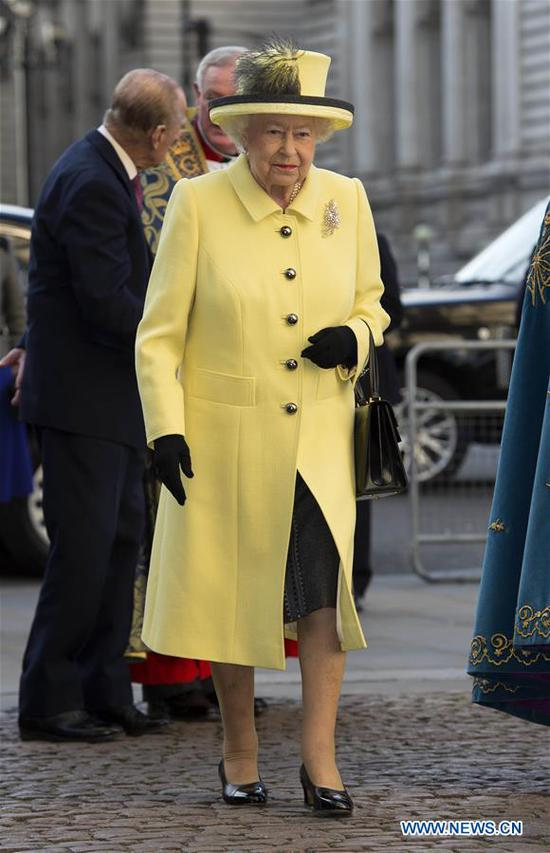 Queen Elizabeth II attends the Commonwealth Day celebrations service at Westminster Abbey in London, Britain, on March 13, 2017. (Xinhua)