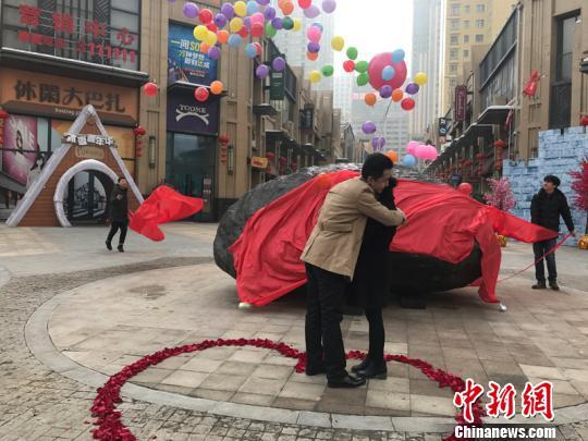 Liu Fei proposed to his girlfriend Wang Fangfang beside a giant