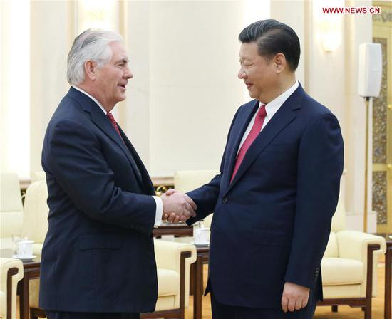 Chinese President Xi Jinping (R) meets with U.S. Secretary of State Rex Tillerson at the Great Hall of the People in Beijing, capital of China, March 19, 2017. (Xinhua/Yao Dawei)