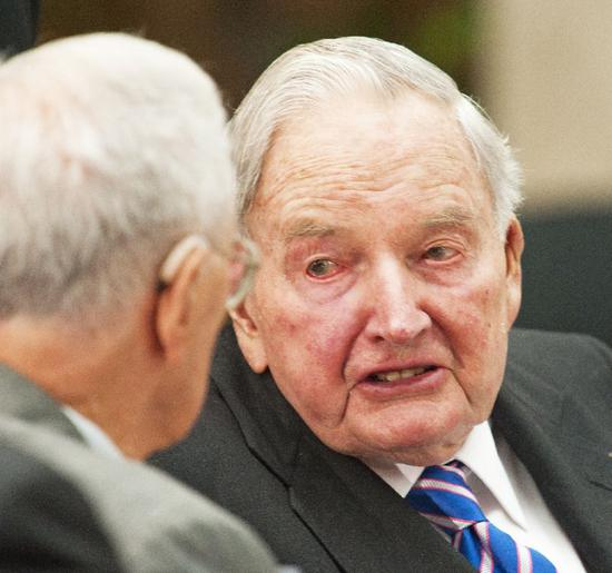 David Rockefeller, pictured in 2010, a former chief executive of Chase Manhattan bank, was an outspoken champion of American capitalism (AFP Photo/Paul J. RICHARDS)