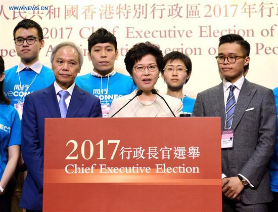 Lam Cheng Yuet-ngor meets the press after winning the election in Hong Kong, south China, March 26, 2017. Lam Cheng Yuet-ngor on Sunday won the election of the fifth-term chief executive of China's Hong Kong Special Administrative Region (SAR). (Xinhua/Qin Qing)