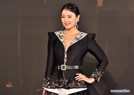 Actress Zhang Yuqi poses on the red carpet during the 36th Hong Kong Film Awards in Hong Kong, south China, April 9, 2017. (Xinhua/Wang Xi)