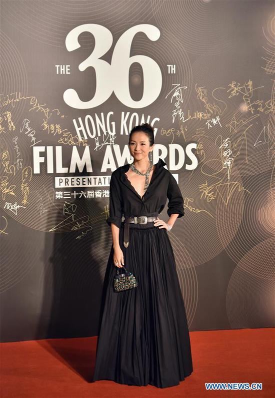 Actress Zhang Ziyi poses on the red carpet during the 36th Hong Kong Film Awards in Hong Kong, south China, April 9, 2017. (Xinhua/Wang Xi)