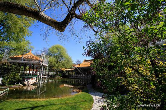 Photo taken on April 12, 2017 shows the scenery of the Zurich Chinese Garden, Switzerland. The Zurich Chinese Garden, located right by the Zurich lake as a symbol of friendship between southwest China's Kunming and Zurich, was formally opened in 1994. (Xinhua/Xu Jinquan)