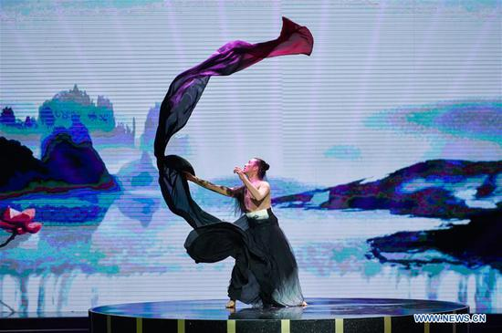 A dancer performs during the opening ceremony of the 7th Beijing International Film Festival (BJIFF) in Beijing, capital of China, April 16, 2017. (Xinhua/Lu Peng)