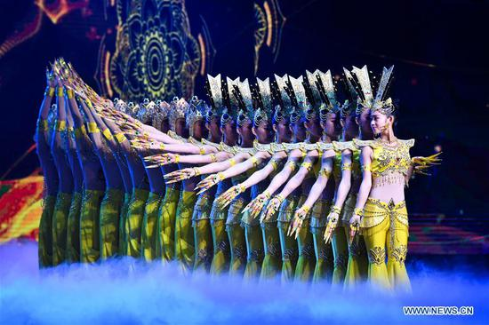 Dancers from China Disabled People's Performing Art Troupe perform during the opening ceremony of the 7th Beijing International Film Festival (BJIFF) in Beijing, capital of China, April 16, 2017. (Xinhua/Li Xin)