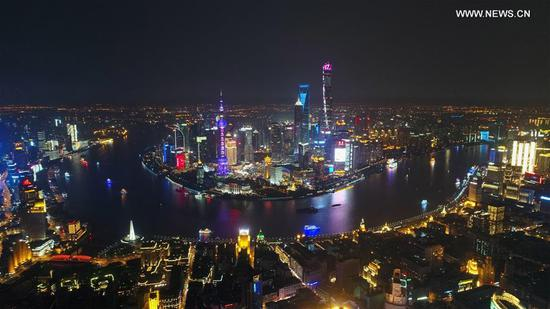 Photo taken on April 15, 2017 shows an aerial night view of Shanghai, east China. (Xinhua/Ding Ting)