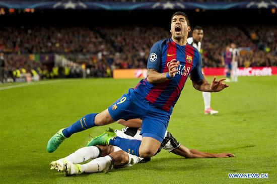 Barcelona's Luis Suarez falls in action during the UEFA Champions League quarter final second leg match between FC Barcelona and Juventus FC at the Camp Nou Stadium in Barcelona, Spain, April 19, 2017. The match ended 0-0 tie. Juventus advanced to the semifinal with 3-0 on aggregate. (Xinhua/Lino De Vallier)