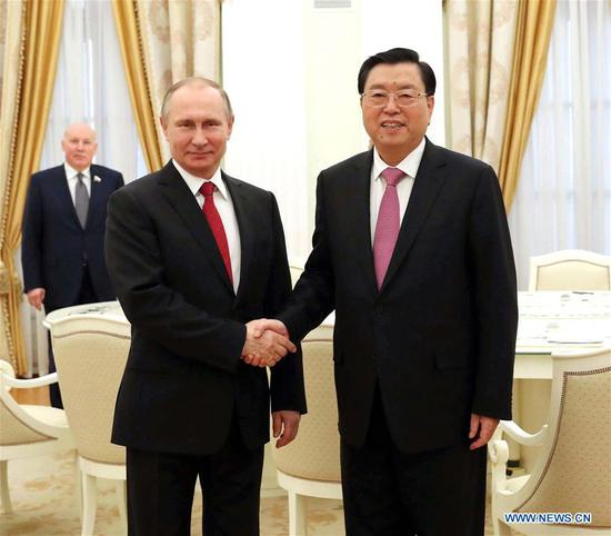 Zhang Dejiang, chairman of the Standing Committee of China's National People's Congress (NPC), meets with Russian President Vladimir Putin, in Moscow, capital of Russia, April 19, 2017. (Xinhua/Liu Weibing)