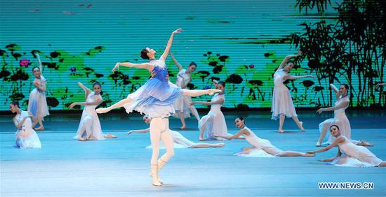 Performers dance during the Millennial Road, a performance for the Belt and Road Forum for International Cooperation, at the National Center for the Performing Arts in Beijing, capital of Beijing, May 14, 2017. (Xinhua/Wang Ye)