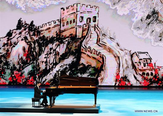 A pianist performs during the Millennial Road, a performance for the Belt and Road Forum for International Cooperation, at the National Center for the Performing Arts in Beijing, capital of Beijing, May 14, 2017. (Xinhua/Wang Ye)