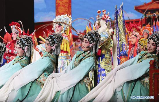 Performers attend the Millennial Road, a performance for the Belt and Road Forum for International Cooperation, at the National Center for the Performing Arts in Beijing, capital of Beijing, May 14, 2017. (Xinhua/Ding Lin)