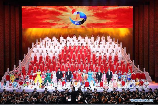 Performers sing during the Millennial Road, a performance for the Belt and Road Forum for International Cooperation, at the National Center for the Performing Arts in Beijing, capital of Beijing, May 14, 2017. (Xinhua/Wang Ye)