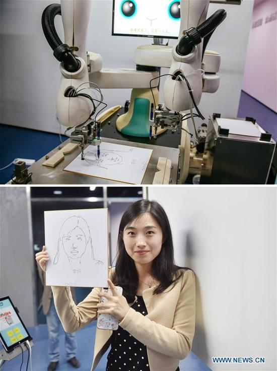 Combined photo shows a robot drawing a picture and a visitor displaying the robot's painting works during the fourth China Robot Summit in Yuyao, east China's Zhejiang Province, May 16, 2017. The two-day robot summit, displaying a variety of artificial intelligence technologies and service robots, kicked off here on Tuesday. (Xinhua/Huang Zongzhi)