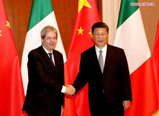 Chinese President Xi Jinping meets with Italian Prime Minister Paolo Gentiloni after the two-day Belt and Road Forum for International Cooperation in Beijing, capital of China, May 16, 2017. (Xinhua/Liu Weibing)