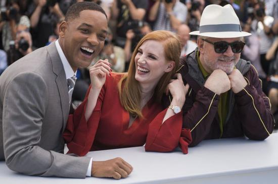 Jury members Will Smith, from left, Jessica Chastain and Pedro Almodovar pose for photographers during the photo call for the Jury at the 70th international film festival, Cannes, southern France, Tuesday, May 16, 2017. (Photo by Arthur Mola/Invision/AP)
