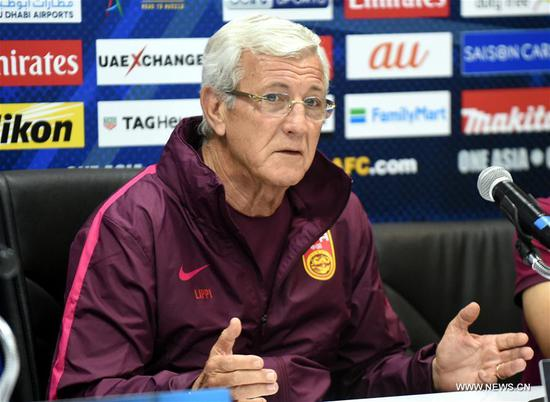 China's head coach Marcello Lippi attends the press conference before the 2018 FIFA World Cup Russia qualification match between China and Syria in Malacca, Malaysia, June 12, 2017. (Xinhua/Lo Ping Fai)
