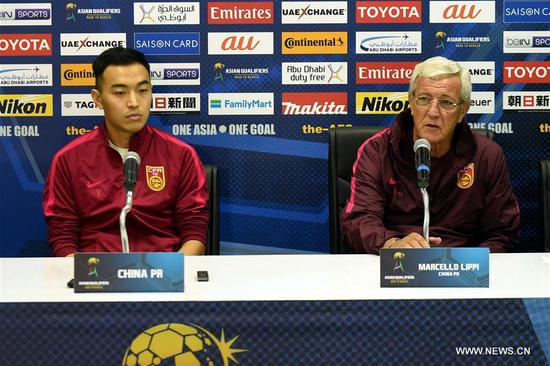 China's head coach Marcello Lippi (R) attends the press conference before the 2018 FIFA World Cup Russia qualification match between China and Syria in Malacca, Malaysia, June 12, 2017.(Xinhua/Lo Ping Fai)
