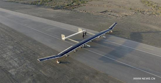 Photo taken on May 24, 2017 shows a solar drone on its test flight. China has successfully tested near-space flight of its largest solar drone. With a wingspan of 45 meters, the solar-powered drone is capable of flying at an altitude of 20 to 30 kilometers, and cruising at a speed of 150 to 200 km per hour for a long time. The unmanned aerial vehicle will be used mostly for airborne early warning, aerial reconnaissance, disaster monitoring, meteorological observation and communications relay. (Xinhua)