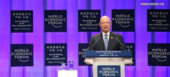 Klaus Schwab, founder and executive chairman of the World Economic Forum (WEF), delivers a speech at the opening meeting of the Annual Meeting of the New Champions 2017, also known as Summer Davos, held in Dalian, coastal city of northeast China's Liaoning Province, June 27, 2017. (Xinhua/Yao Jianfeng)