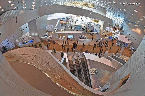Photo taken on June 27, 2017 shows the interior view of the venue for the Annual Meeting of the New Champions 2017, also known as Summer Davos, in Dalian, coastal city of northeast China's Liaoning Province. The Summer Davos kicked off here on Tuesday. (Xinhua/Yang Qing)