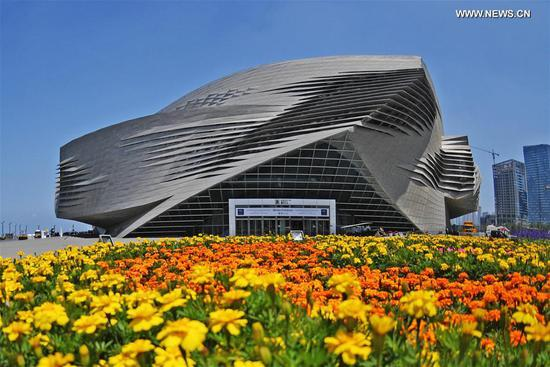 Photo taken on June 27, 2017 shows the venue for the Annual Meeting of the New Champions 2017, also known as Summer Davos, in Dalian, coastal city of northeast China's Liaoning Province. The Summer Davos kicked off here on Tuesday. (Xinhua/Yang Qing)