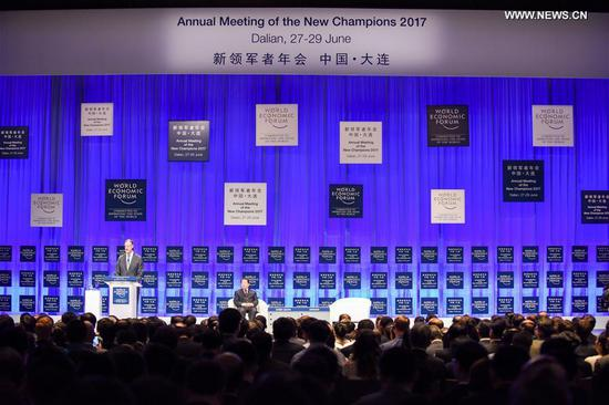 Guests attend the Annual Meeting of the New Champions 2017, also known as Summer Davos, held in Dalian, coastal city of northeast China's Liaoning Province, June 27, 2017. The Summer Davos kicked off here on Tuesday. (Xinhua/Wang Yiliang)