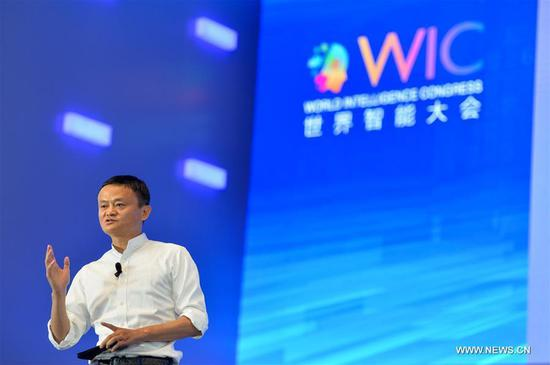 Jack Ma, Executive Chairman of Alibaba Group, speaks during the first World Intelligence Congress in Tianjin, north China, June 29, 2017. The congress opened here on Thursday. (Xinhua/Bai Yu)