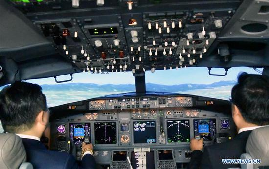 Photo taken on July 17, 2017 shows the interior scene of the flight simulator in Tianjin, north China. An aviation company in Tianjin Monday received China's first top-level full flight simulator. The simulator was delivered by ACCEL (Tianjin) Flight Simulation, a joint Sino-U.S. venture between Haite High-Tech and Rockwell Collins, established last year. (Xinhua/Mao Zhenhua)