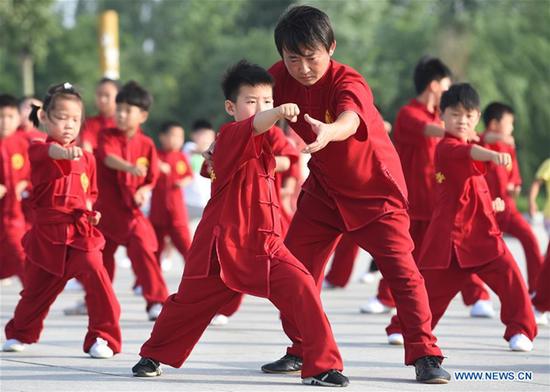 Martial art lover Mao Jian teaches pupils Chinese martial art in Yanshan County, north China's Hebei Province, July 8, 2017. (Xinhua/Fu Xinchun)