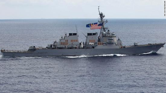 "The USS John S. McCain, shown in 2011. It sailed close to a Chinese man-made island on Thursday in a ""freedom of navigation"" operation in the disputed South China Sea."